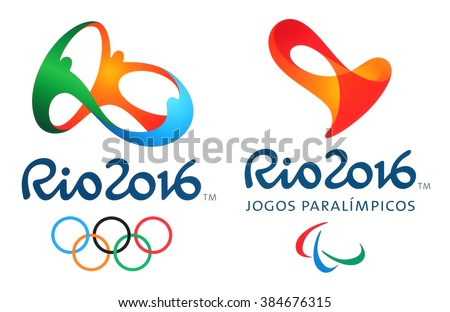 Kiev, Ukraine - February 26, 2016: Logos of the 2016 Summer Olympic Games in Rio de Janeiro, Brazil, from August 5 to August 21, 2016, printed on paper. - stock photo