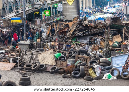 KIEV, UKRAINE - February 24, 2014: Mass anti-government protests in Kiev, Ukraine. Kiev after two days of violent clashes between riot police and Euromaidan protesters.