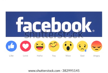 Kiev, Ukraine - February 26, 2016: New Facebook like button 6 Empathetic Emoji Reactions printed on white paper. Facebook is a well-known social networking service. - stock photo