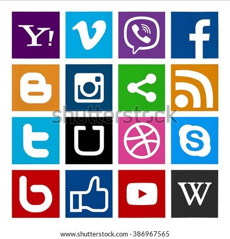 Kiev, Ukraine - February 16, 2016: Set of most popular social media icons:Instagram, Facebook, Viber, Uber, Skype, Vimeo, Twitter, Blogger, Youtube,   and others printed on paper. - stock photo