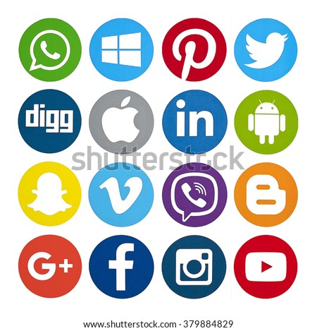 Kiev, Ukraine - February 10, 2016: Set of most popular social media icons: Twitter, Pinterest, Instagram, Facebook, Blogger, WhatsApp,Viber, Vimeo, Linkedin and others printed on paper. - stock photo