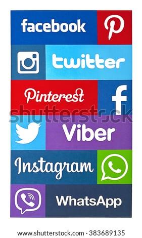 Kiev, Ukraine - February 16, 2016: Set of most popular social media icons: Twitter, Pinterest, Instagram, Facebook, WhatsApp,Viber, and others printed on paper. - stock photo