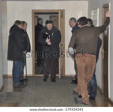 KIEV, UKRAINE � 16 FEBRUARY 2013: The head of the Ukrainian State Olexander Turchinov walks in government building on February 16, 2013 in Kiev, Ukraine. - stock photo