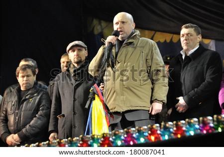 KIEV, UKRAINE - 26 FEBRUARY 2013: The head of Ukrainian government Olexander Turchinov and ministers speak on the meeting on February 26, 2013 in Kiev, Ukraine. - stock photo