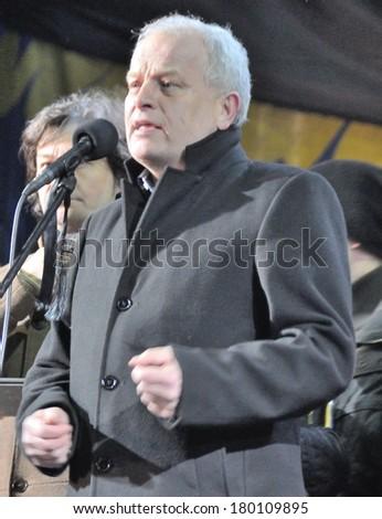 KIEV, UKRAINE -Â?Â? 26 FEBRUARY 2013: The head of Ukrainian national bank Stepan Kubiv and ministers speak on the meeting on February 26, 2013 in Kiev, Ukraine. - stock photo