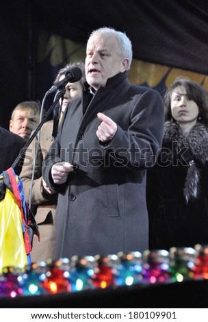 KIEV, UKRAINE - 26 FEBRUARY 2013: The head of Ukrainian national bank Stepan Kubiv and ministers speak on the meeting on February 26, 2013 in Kiev, Ukraine. - stock photo