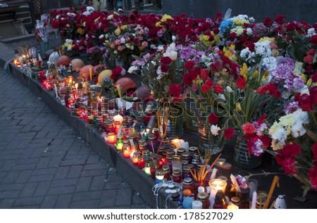 KIEV, UKRAINE - 24 February  2014: The memorial of heroes which died during Ukrainian revolution on February  24, 2014 in Kiev, Ukraine - stock photo