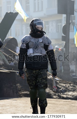 KIEV, UKRAINE - February 21, 2014: Ukrainian revolution. Euromaidan fighters