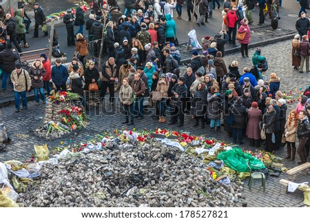 KIEV, UKRAINE - February 24, 2014: Ukrainian revolution, Euromaidan. Funeral wreath of civilians killed during clashes with the armed forces