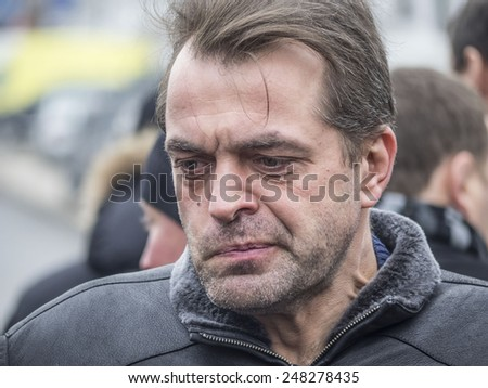 KIEV, UKRAINE - January 29, 2015: Advisor to the President of Ukraine Yuri Biryukov. -- Ukrainian politicinas attended the ceremony Kruty Heroes - stock photo