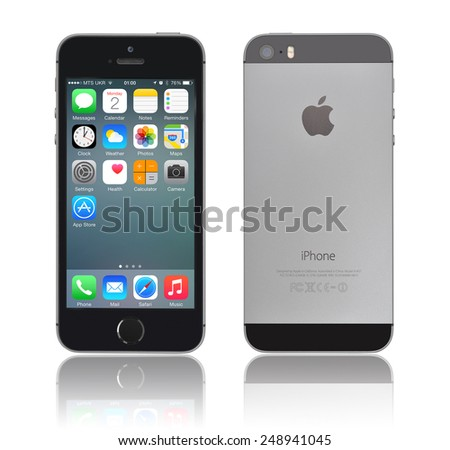 KIEV, UKRAINE - JANUARY 29, 2015: Brand new black Apple iPhone 5s, front and back sides, designed and developed by Apple Inc., it was released on September 20, 2013 - stock photo