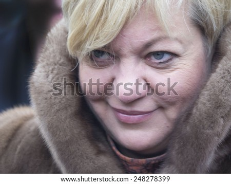KIEV, UKRAINE - January 29, 2015: Chairman of the National Bank of Ukraine Valeriy Gontareva. Ukrainian politicinas attended the ceremony Kruty Heroes - stock photo