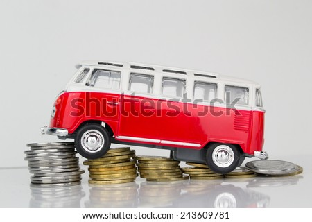 Kiev, Ukraine - January 10, 2015:Classic Old VW Camper Made By Corgi on a White Background - stock photo