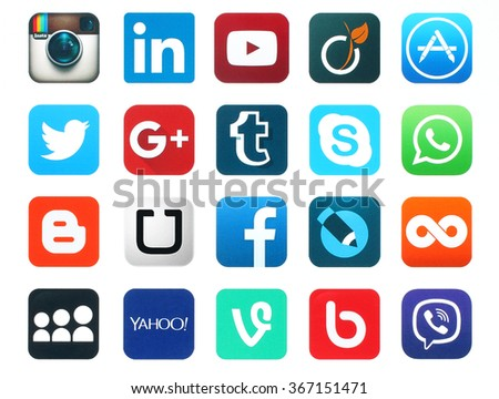 Kiev, Ukraine - January 23, 2016: Popular social media icons such as: Facebook, Twitter, Blogger, Linkedin, Tumblr, Myspace and others, printed on white paper. - stock photo