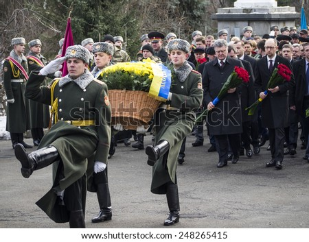 KIEV, UKRAINE - January 29, 2015: President Poroshenko attended the ceremony Kruty Heroes, young guys who on this day in 1918 near station Kruty in Chernihiv region entered into battle with Bolsheviks
