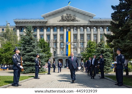 KIEV, UKRAINE - Jul 01, 2016: President Petro Poroshenko congratulated officials and graduates of National Academy of Internal Affairs on 95th anniversary of educational institution