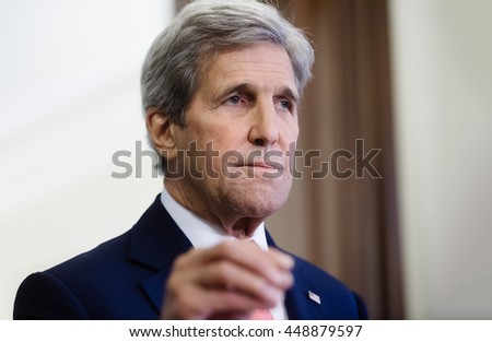 KIEV, UKRAINE - Jul 7, 2016: US Secretary of State John Kerry during a joint press conference with President of Ukraine Petro Poroshenko in Kiev