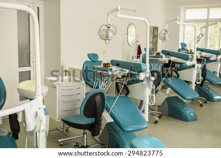 Kiev, Ukraine - July 6, 2015: Dental office training center with many dental chairs - stock photo