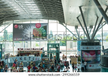 KIEV, UKRAINE - JULY 10, 2015: Passengers in an International airport Borispol.