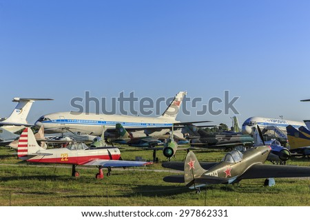 KIEV, UKRAINE - JULY 18, 2015: State Aviation Museum is more than 70 old civil and military planes and helicopters.