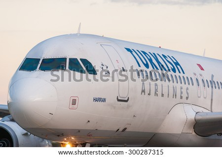 KIEV, UKRAINE - JULY 10, 2015: Turkish Airlines Airbus A320 landed at the Borispol international airport. Turkish Airlines is one of the bigest airlines in the world, has 261 aircrafts - stock photo