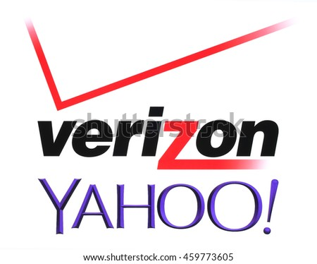 Kiev, Ukraine - July 26, 2016: Yahoo and Verizon Communications logos printed on white paper. Verizon Communications is a new owner of Yahoo services.