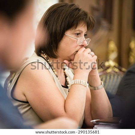 KIEV, UKRAINE - Jun 23, 2015: Minister of Finance of Ukraine Natalia Yaresko during a meeting of the National Council reform in Kiev - stock photo