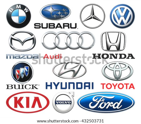 Kiev, Ukraine - June 03, 2016: Collection of popular car logos printed on white paper: Volkswagen, Audi, Subaru, Mazda, Hyunday, Toyota, Kia, Volvo, Ford and others