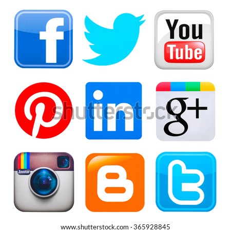 Kiev, Ukraine - June 7, 2015: Collection of popular social media logos printed on paper:Facebook, Twitter, Google Plus, Instagram, Pinterest, LinkedIn, YouTube, Blogger and YouTube. - stock photo