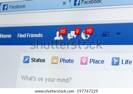 KIEV, UKRAINE - June 8: Facebook web page closeup with notifications of new friends request and messages, and blank status line, in Kiev, Ukraine, on June 8, 2014. - stock photo