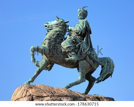 KIEV, UKRAINE - JUNE 6, 2011: Monument of Bohdan Khmelnytsky, the Hetman of Ukrainian Zaporozhian Cossacks in 1648-1657. The monument by sculptor Mikhail Mikeshin was unveiled on July 11, 1888. - stock photo