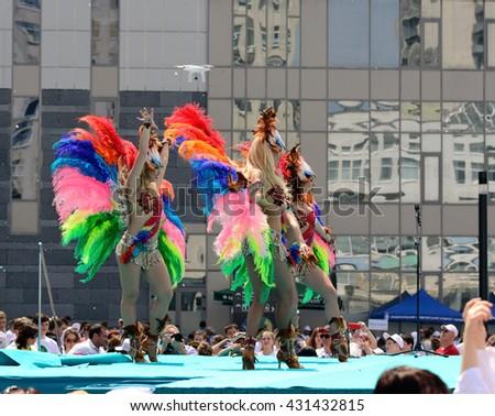 Kiev, Ukraine, June 4, 2016. NSC Olimpiyskiy, festive concert before leaving the Ukrainian sportsmen to the Olympic Games in Rio - stock photo