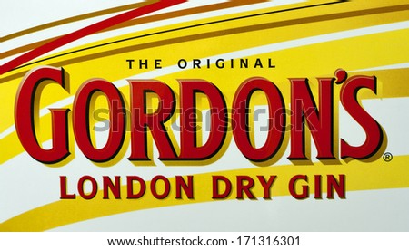 KIEV, UKRAINE - JUNE 05, 2011: Original Gordon's London Dry Gin bottle label macro. Gordon's Gin was developed in London 1769 by Scot Alexander Gordon and its recipe remains unchanged to this days.