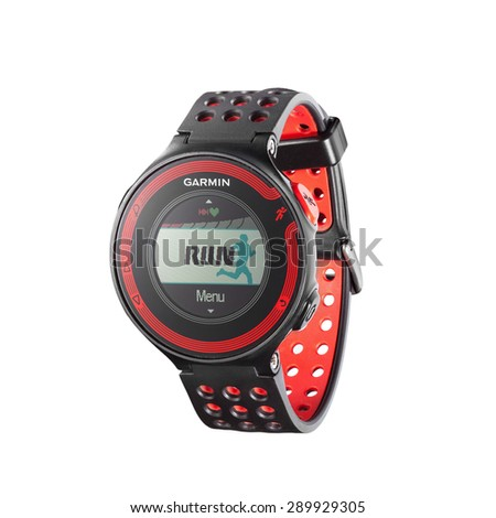 Kiev, Ukraine - June 22, 2015: Photo of red Garmin 220 sport watch with heart rate monitor isolated on white. Product shot - stock photo