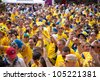 KIEV, UKRAINE - JUNE 15: Sweden and Ukrainian fans arrive in the fanzone before match Euro 2012 between England - Sweden on June 15, 2012 in Kiev, Ukraine. Zone for the fans UEFA EURO Championship. - stock photo