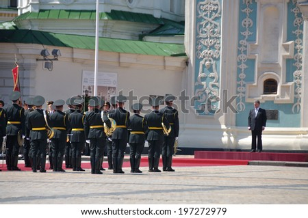 KIEV, UKRAINE � 08 JUNE 2014: The President of Ukraine and commander-in-chief Petro Poroshenko and army officers takes part in own inauguration on June 08, 2014 in Kiev, Ukraine