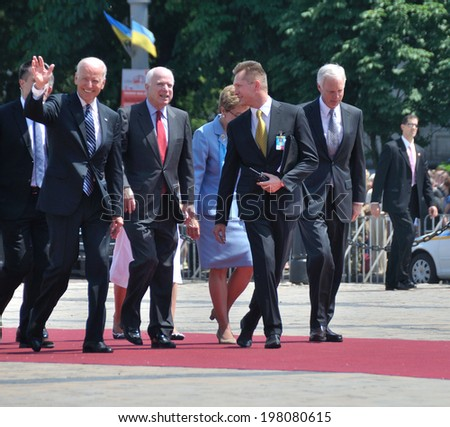 KIEV, UKRAINE - 08 JUNE 2014: The vice-president of USA Joe Biden, senators John McCain, Marcy Kaptur visit the inauguration of Ukrainian President Petro Poroshenko on June 08, 2014 in Kiev, Ukraine  - stock photo