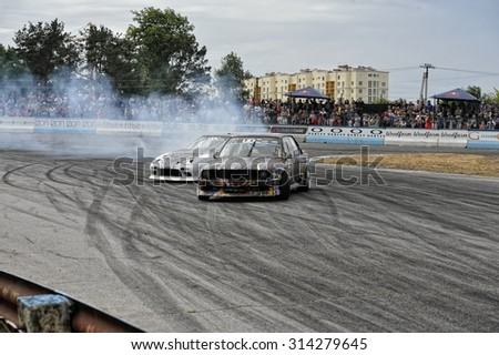 Kiev, Ukraine - June 28, 2015 Ukrainian Drift Challenge (UDC) in 2015.
