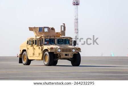 KIEV, UKRAINE - Mar. 25, 2015: American armored vehicle HMMWV (Humvee) at Borispol International Airport in Kiev - stock photo