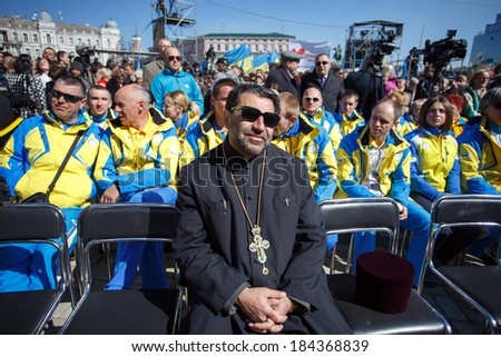 KIEV, UKRAINE - MAR 29, 2014 -Cleric during 'Batkivshchyna' party Congress in  - stock photo