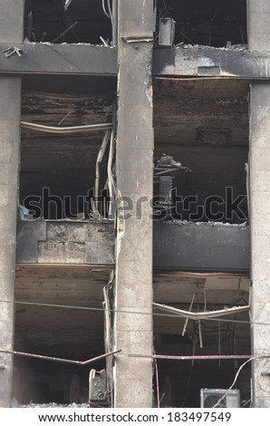 KIEV, UKRAINE -MAR 24, 2014: Downtown of Kiev.Burnt down the House of trade unions Riot in Kiev and Western Ukraine.March 24 2014 Kiev, Ukraine