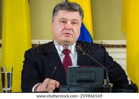 KIEV, UKRAINE - Mar. 11, 2015: Prime Minister of the Kingdom of Sweden Stefan Lofven during a meeting with Ukrainian President Petro Poroshenko - stock photo