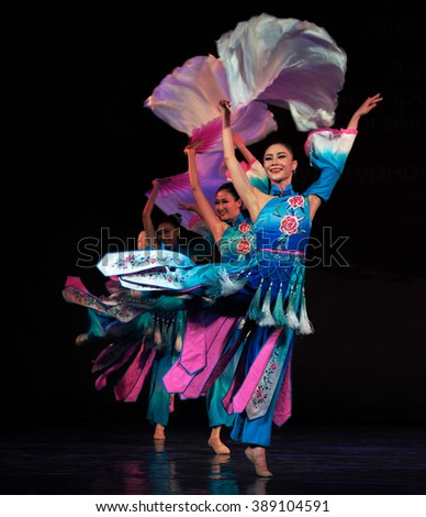 KIEV, UKRAINE - March 1, 2016:  Chinese Dance of with a fan. -- Spring Festival In National Opera of Ukraine - stock photo