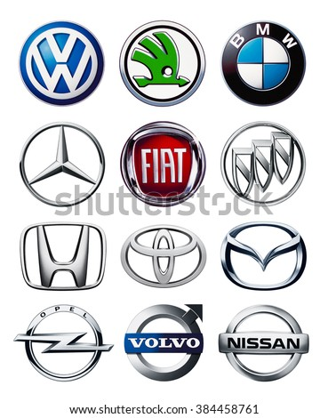 Kiev, Ukraine - March 01, 2016: Collection of popular car logos printed on white paper: Volkswagen,Honda, Toyota, Volvo, Nissan, Mazda, BMW, Fiat, Opel,Skoda.