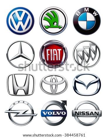Kiev, Ukraine - March 01, 2016: Collection of popular car logos printed on white paper: Volkswagen,Honda, Toyota, Volvo, Nissan, Mazda, BMW, Fiat, Opel,Skoda. - stock photo