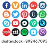 Kiev, Ukraine - March 18, 2016: Collection of popular 20 round social media logos printed on paper:Facebook, Twitter, Google Plus, Instagram, MySpace, LinkedIn, Pinterest, Tumblr and others - stock photo