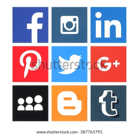 Kiev, Ukraine - March 8, 2016: Collection of popular social media logos printed on paper:Facebook, Twitter, Google Plus, Instagram, MySpace, LinkedIn, Pinterest, Tumblr and Blogger - stock photo