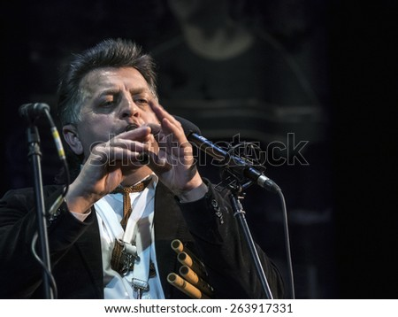 "KIEV, UKRAINE - MARCH 21, 2015: Ethno-music performer Myron Bloschychak, 14 international jazz festival ""Unity""."