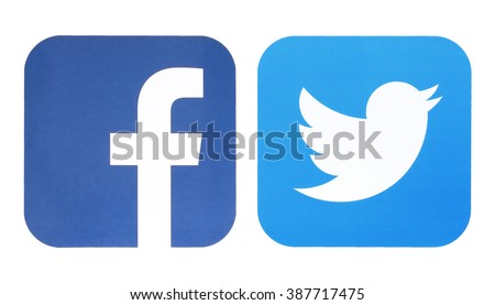 KIEV, UKRAINE - MARCH 8, 2016: Facebook and Twitter logo. Social network facebook and twitter sign on pc sign. - stock photo
