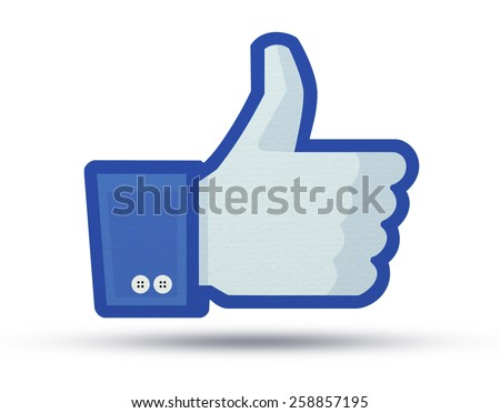 KIEV, UKRAINE - MARCH 5, 2015:  Facebook like logo for e-business, web sites, mobile applications, banners, printed on paper and placed on white background.  Social network facebook sign on pc sign. - stock photo